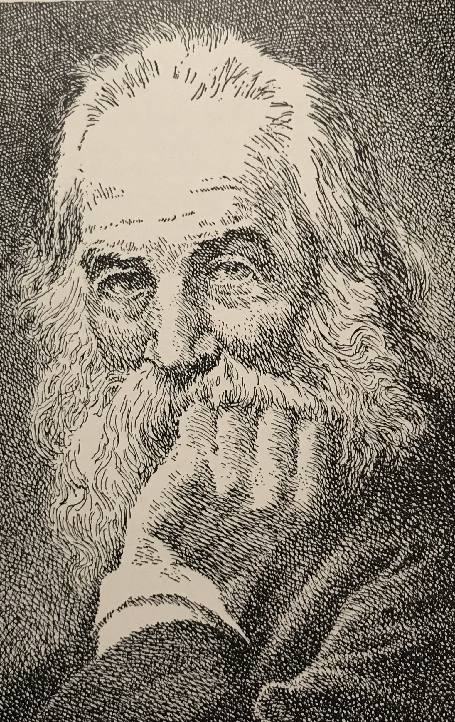Pen Drawing of Walt Whitman by Kerr Eby